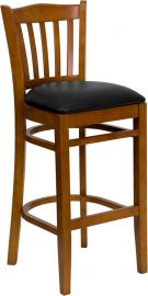 Marvelius Series Vertical Slat Back Cherry Wood Restaurant Barstool - Black Vinyl Seat