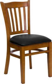 Marvelius Series Vertical Slat Back Cherry Wood Restaurant Chair - Black Vinyl Seat