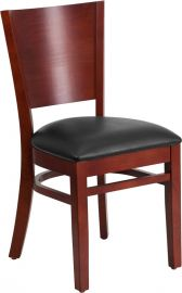 Hammock Series Solid Back Mahogany Wood Restaurant Chair - Black Vinyl Seat
