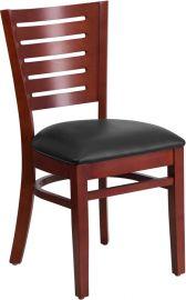 Solitaire Series Slat Back Mahogany Wood Restaurant Chair - Black Vinyl Seat