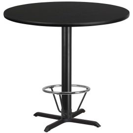 42'' Round Black Laminate Table Top with 33'' x 33'' Bar Height Table Base and Foot Ring