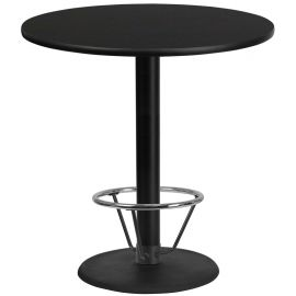 42'' Round Black Laminate Table Top with 24'' Round Bar Height Table Base and Foot Ring