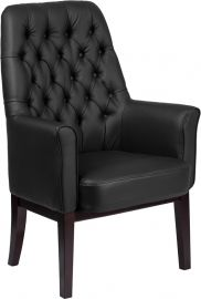 High Back Traditional Tufted Black Leather Side Reception Chair
