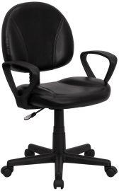 Mid-Back Black Leather Swivel Ergonomic Task Office Chair with Back Depth Adjustment and Arms