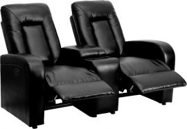 Shadow Series 2-Seat Push Button Motorized Reclining Black Leather Theater Seating Unit with Cup Holders