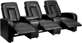 Shadow Series 3-Seat Reclining Black Leather Theater Seating Unit with Cup Holders