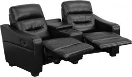 Seirra Series 2-Seat Reclining Black Leather Theater Seating Unit with Cup Holders