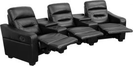 Seirra Series 3-Seat Reclining Black Leather Theater Seating Unit with Cup Holders