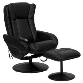Massaging Multi-Position Plush Recliner with Side Pocket and Ottoman in Black Leather
