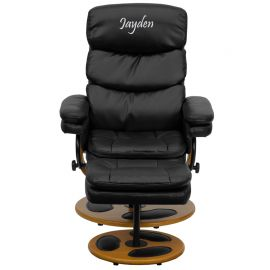 Personalized Contemporary Multi-Position Recliner and Ottoman with Wood Base in Black Leather