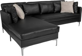 Loch Upholstered Accent Pillow Back Sectional with Left Side Facing Chaise in Black Leather