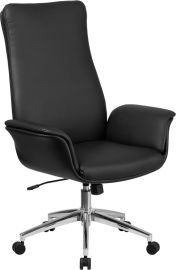 High Back Black Leather Executive Swivel Office Chair with Flared Arms