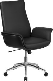 Mid-Back Black Leather Executive Swivel Office Chair with Flared Arms