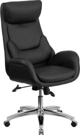 High Back Black Leather Executive Swivel Office Chair with Lumbar Pillow and Arms