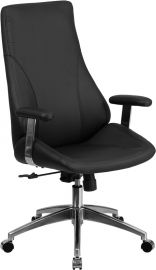 High Back Black Leather Smooth Upholstered Executive Swivel Office Chair with Arms