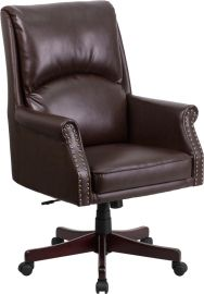 High Back Pillow Back Brown Leather Executive Swivel Office Chair with Arms