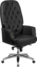 High Back Traditional Tufted Black Leather Multifunction Executive Swivel Ergonomic Office Chair with Arms