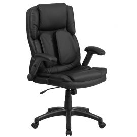 Extreme Comfort High Back Black Leather Executive Swivel Ergonomic Office Chair with Flip-Up Arms