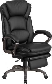 High Back Black Leather Executive Reclining Ergonomic Swivel Office Chair with Outer Lumbar Cushion and Arms