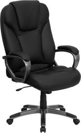 High Back Black Leather Executive Swivel Office Chair with Titanium Nylon Base and Arms