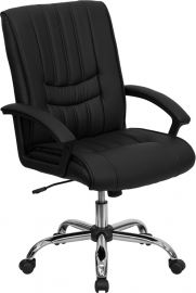 Mid-Back Black Leather Swivel Manager's Office Chair with Arms