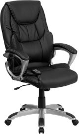 High Back Ergonomic Massaging Black Leather Executive Swivel Office Chair with Silver Base and Arms