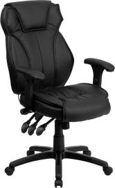 High Back Black Leather Multifunction Executive Swivel Ergonomic Office Chair with Lumbar Support Knob with Arms