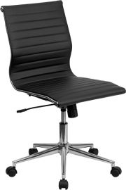 Mid-Back Armless Black Ribbed Leather Swivel Conference Office Chair