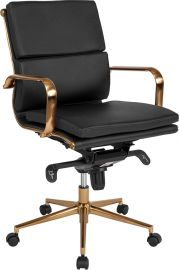Mid-Back Black Leather Executive Swivel Office Chair with Gold Frame, Synchro-Tilt Mechanism and Arms