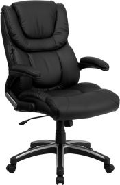 High Back Black Leather Executive Swivel Office Chair with Double Layered Headrest and Open Arms