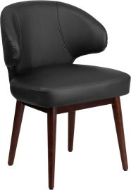 Solace Series Black Leather Side Reception Chair with Walnut Legs
