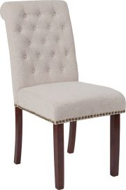 Marvelius Series Beige Fabric Parsons Chair with Rolled Back, Accent Nail Trim and Walnut Finish