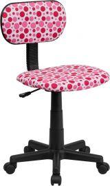Pink Dot Printed Swivel Task Office Chair