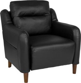 Nelson Hill Upholstered Bustle Back Arm Chair in Black Leather