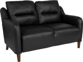 Nelson Hill Upholstered Bustle Back Loveseat in Black Leather
