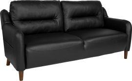 Nelson Hill Upholstered Bustle Back Sofa in Black Leather