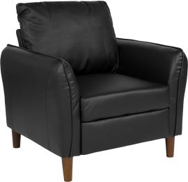 Flicker Upholstered Plush Pillow Back Arm Chair in Black Leather