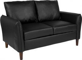 Flicker Upholstered Plush Pillow Back Loveseat in Black Leather