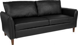 Flicker Upholstered Plush Pillow Back Sofa in Black Leather