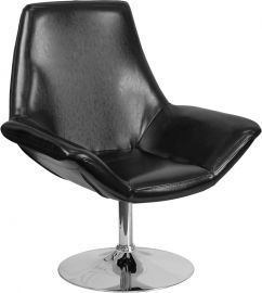 Marvelius Amel Series Black Leather Side Reception Chair
