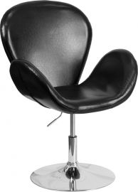 Marvelius Tristan Series Black Leather Side Reception Chair with Adjustable Height Seat