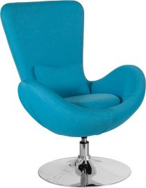 Oval Series Aqua Fabric Side Reception Chair