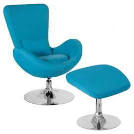 Oval Series Aqua Fabric Side Reception Chair with Ottoman