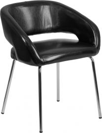 Emma Series Contemporary Black Leather Side Reception Chair