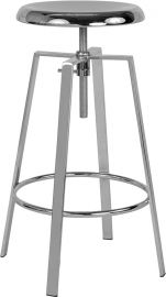 Falchion Industrial Style Barstool with Swivel Lift Adjustable Height Seat in Chrome Finish