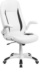 High Back White Leather Executive Swivel Ergonomic Office Chair with Flip-Up Arms