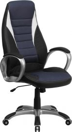 High Back Black Vinyl Executive Swivel Office Chair with Blue Mesh Inserts and Arms