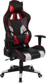 Kentucky Solace Series High Back Black, White, Gray & Red Reclining Racing/Gaming Office Chair with Lumbar Support