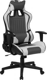 Kentucky Solace Series High Back Gray and White Reclining Racing/Gaming Office Chair with Adjustable Lumbar Support