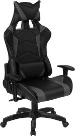 Kentucky Solace Series High Back Black and Gray Reclining Racing/Gaming Office Chair with Adjustable Lumbar Support